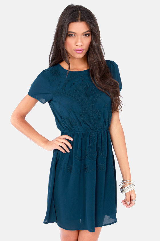 Gettin' Stitched Embroidered Dark Teal Blue Dress at Lulus.com!