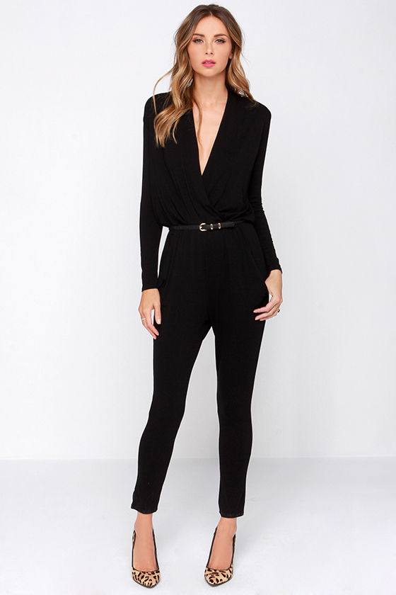 Cool Black Jumpsuit - Surplice Jumpsuit - Long Sleeve Jumpsuit ...
