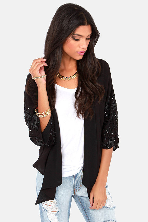 Glittering Geisha Black Sequin Kimono Top at Lulus.com!