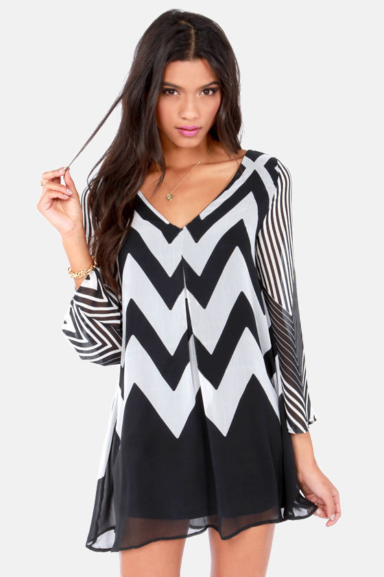 Wake Me Up Ivory and Black Chevron Print Dress at Lulus.com!