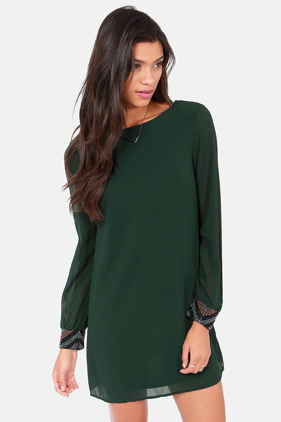 Cute Dark Green Dress - Beaded Dress - Long Sleeve Dress - $59.00