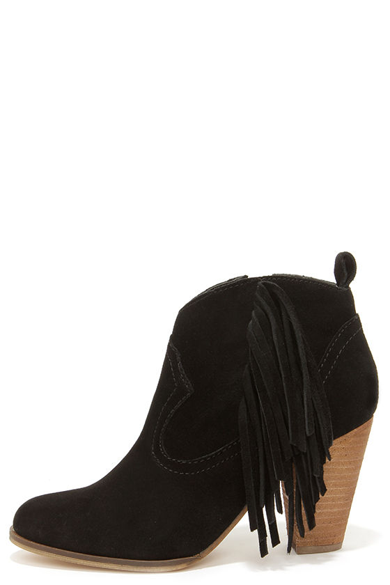 Cute Black Boots - Suede Boots - Fringe Boots - Ankle Boots ...