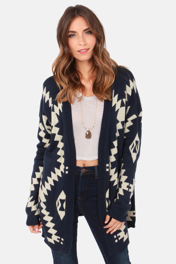 Cute Navy Blue Sweater - Cardigan Sweater - Southwest Print ...