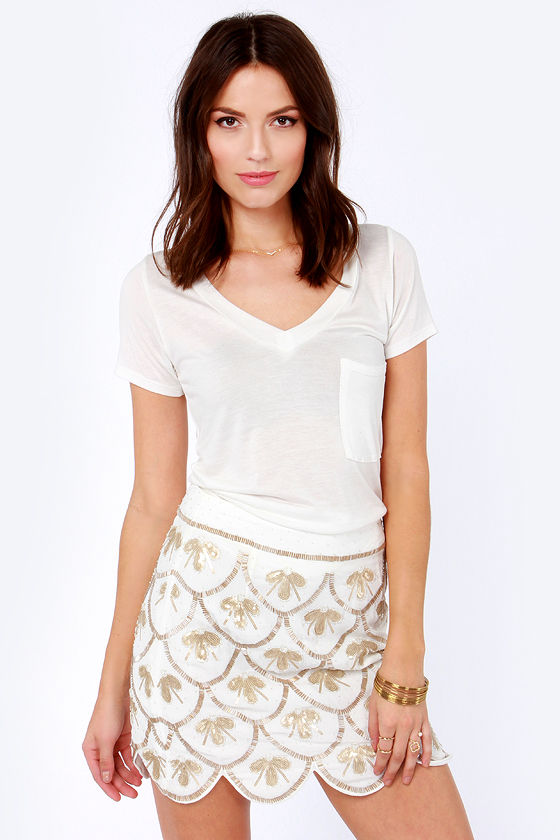 Drop a Bombshell Ivory Sequin Skirt at Lulus.com!