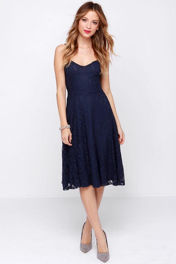 5059ddf88c1 Pretty Navy Blue Dress - Lace Dress - Midi Dress -  34.00