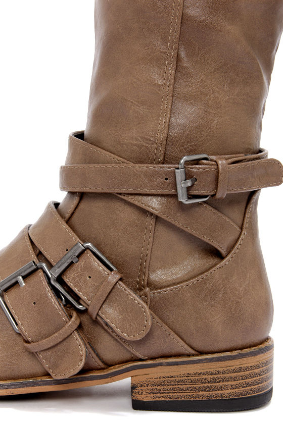Bamboo Parksville 27 Taupe Belted Riding Boots at Lulus.com!
