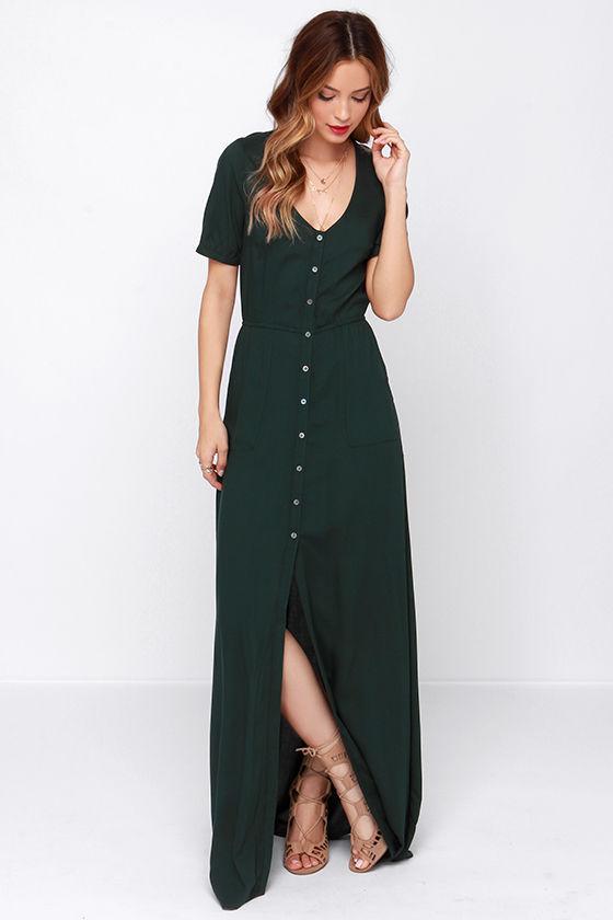 28899030f0a8ef Obey Jane Street - Forest Green Dress - Maxi Dress - Button Up Maxi - $75.00