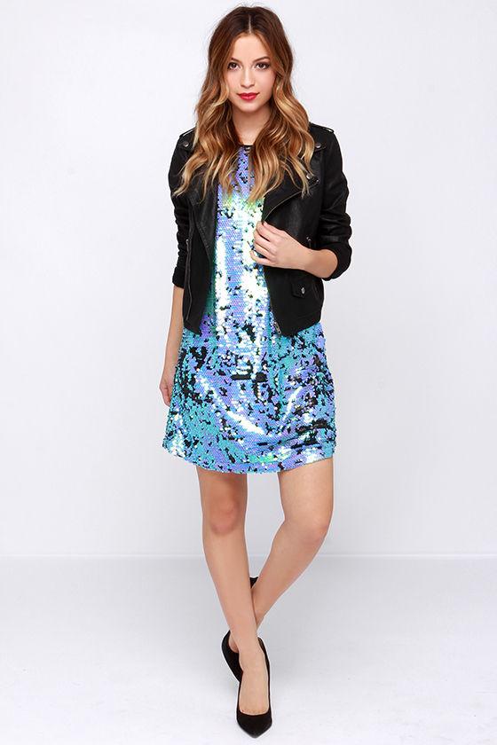 Pretty Aqua and Lavender Dress - Sequin Dress - Sheath Dress - $68.00