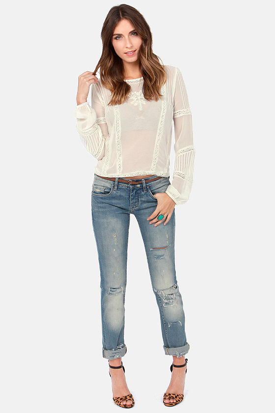 Billabong Sea Through Me Sheer Cream Lace Top at Lulus.com!