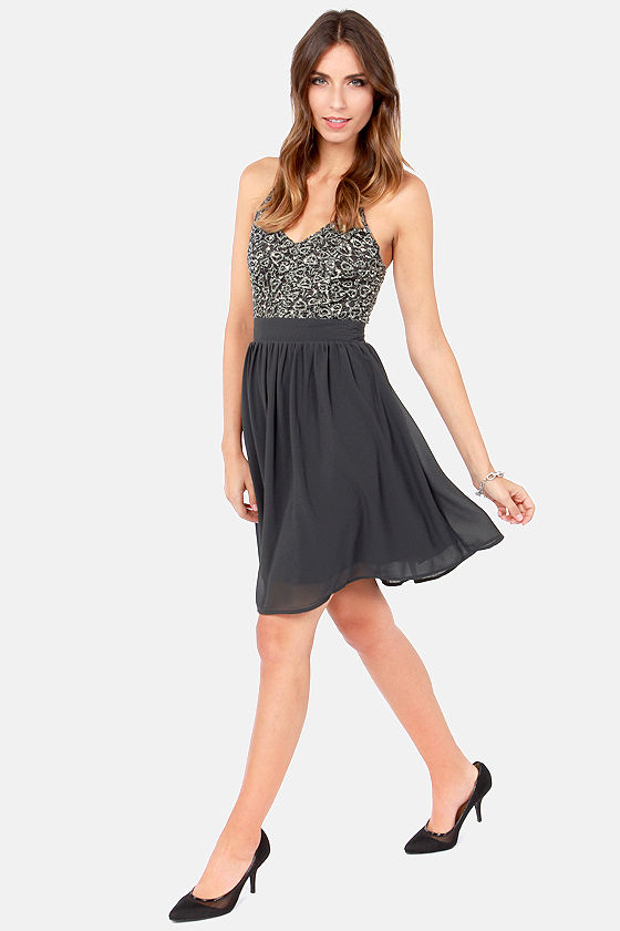 Stellar Starlight Grey Sequin Dress at Lulus.com!
