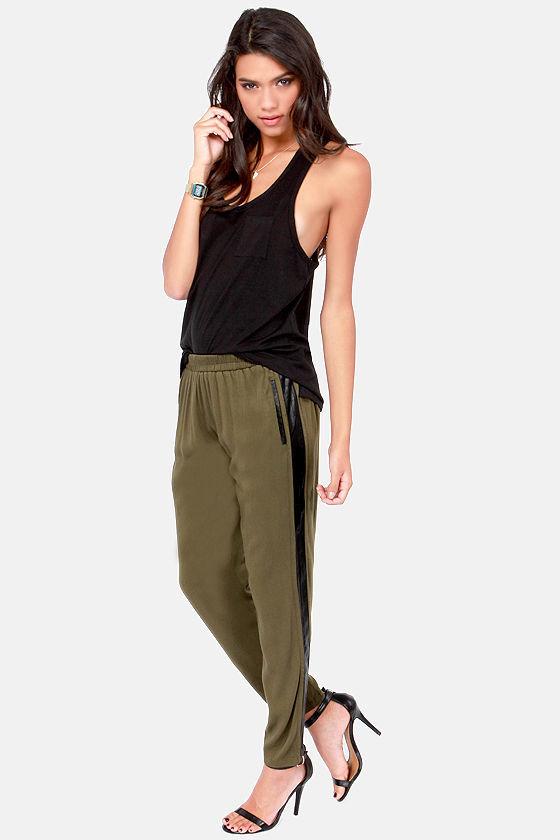 Cute Olive Green Pants Cropped Pants Harem Pants