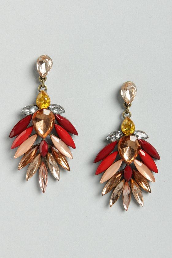 Acute Dangle Peach Rhinestone Earrings at Lulus.com!