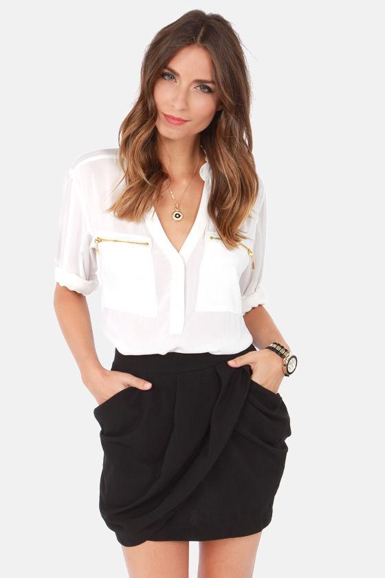 Sexy Black Skirt - Tulip Skirt - Envelope Skirt - $43.00