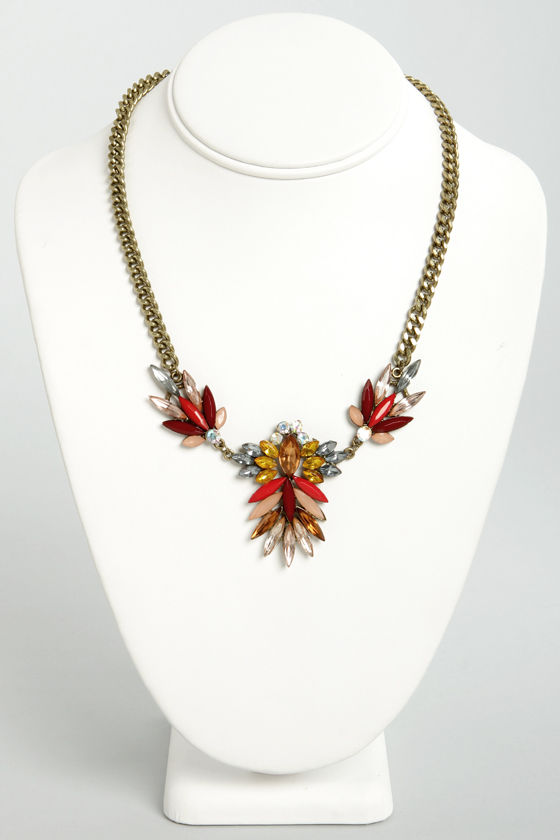 Antique Boutique Red Rhinestone Necklace at Lulus.com!