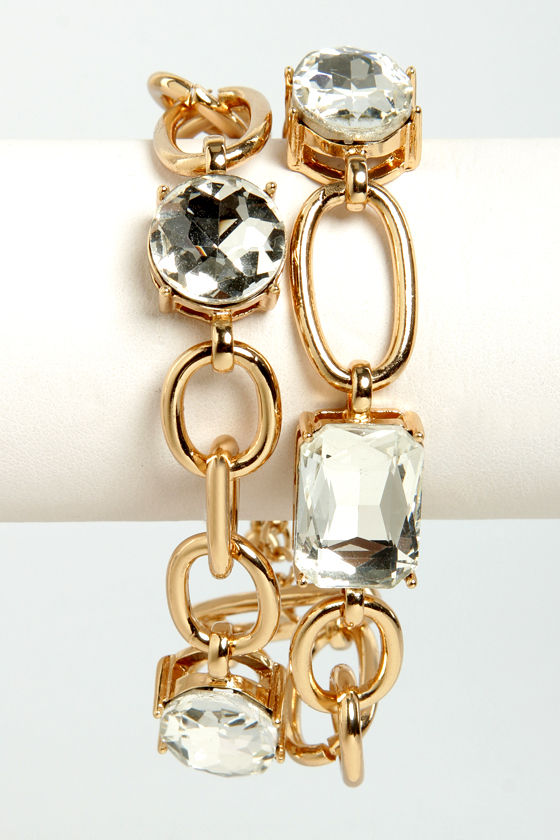 Love is in the Square Gold Rhinestone Bracelet at Lulus.com!