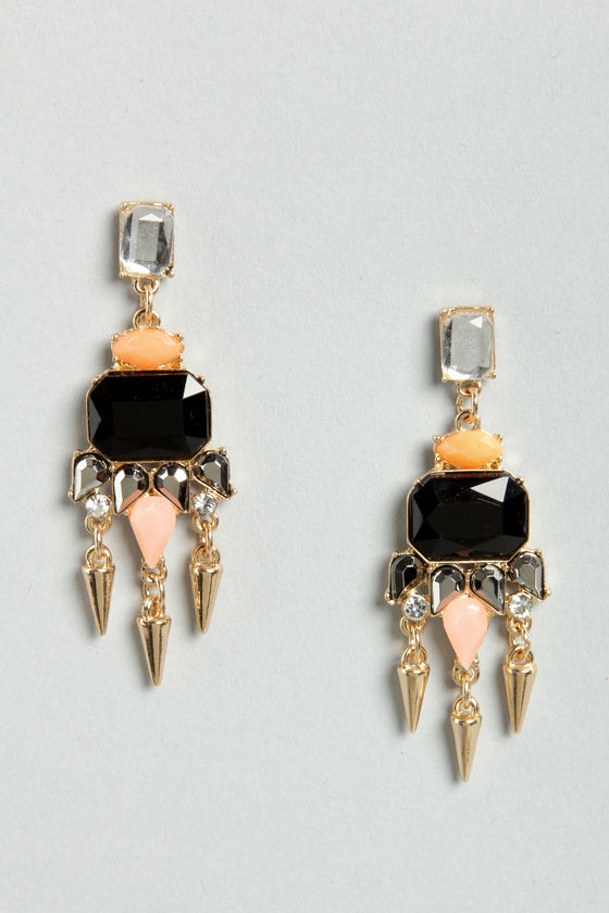Chandelier Premiere Black Rhinestone Earrings at Lulus.com!