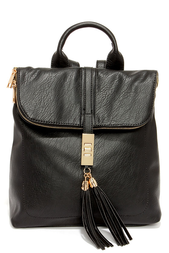 Cute Black Backpack - Vegan Leather Backpack - $49.00
