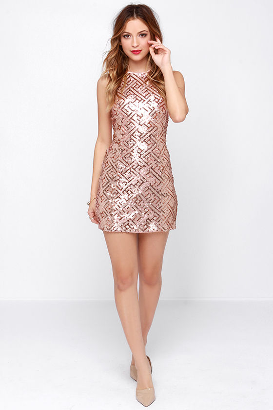 Pretty Rose Gold Dress - Sequin Dress - Open Back Dress ...