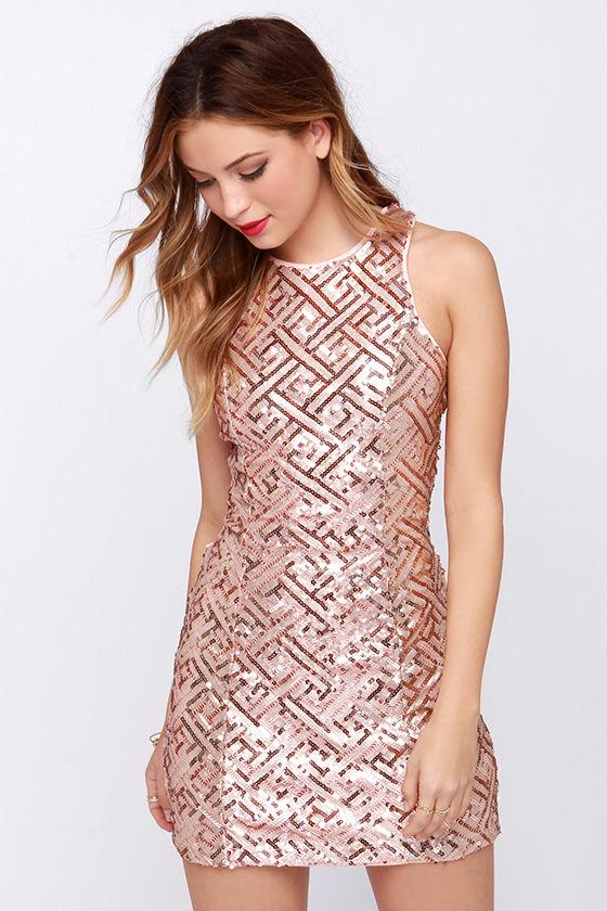 Pretty Rose Gold Dress - Sequin Dress - Open Back Dress - $66.00