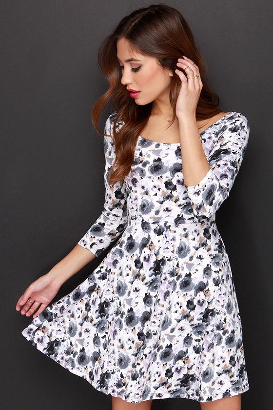 18ff13d16a7 Floral Print Dress - Skater Dress - Long Sleeve Dress -  43.00