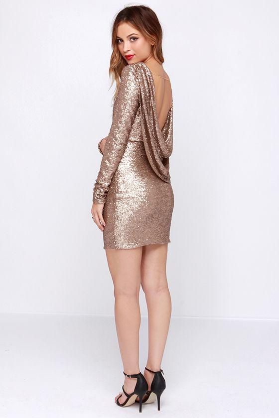 bee021b3ca Pretty Gold Dress - Sequin Dress - Long Sleeve Dress -  68.00