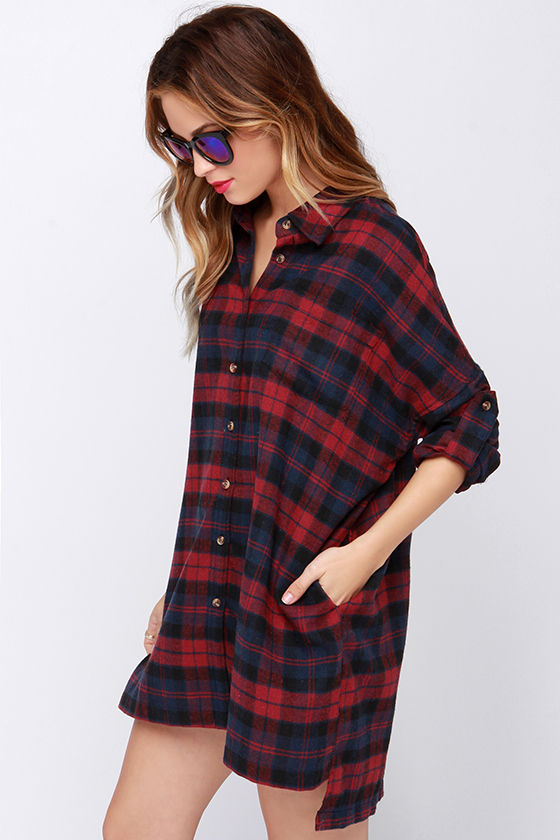 Cute Red Flannel Dress Shirt Dress Long Sleeve Dress