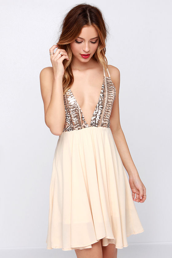 Cute Cream Dress - Sequin Dress - Backless Dress - $47.00