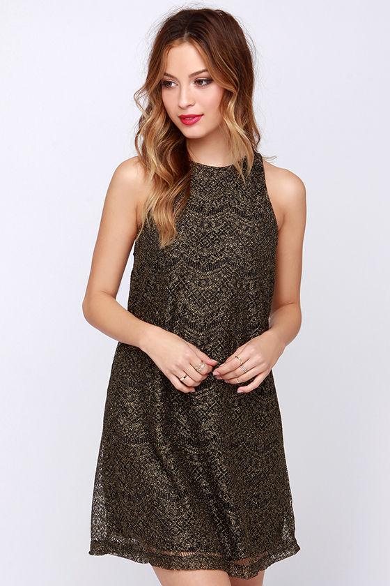 459676f8be7 Pretty Gold Dress - Glitter Dress - Shift Dress -  43.00