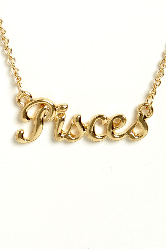 Zodiac Attack Gold Pisces Necklace at Lulus.com!