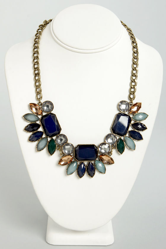 Jewel's Paradise Blue Rhinestone Necklace at Lulus.com!