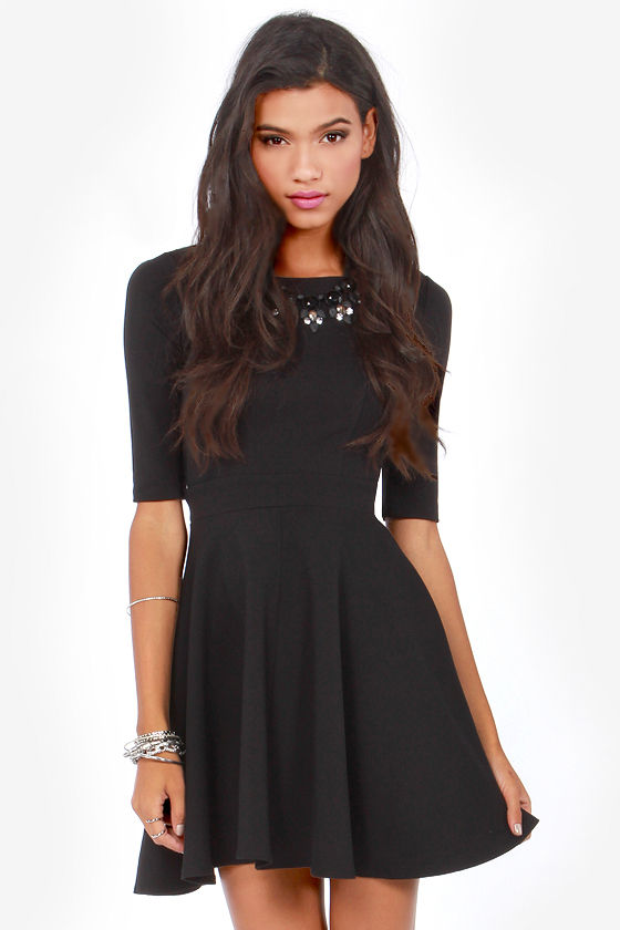 7e403303be26 Cute Black Dress - Skater Dress - Dress with Sleeves -  49.00