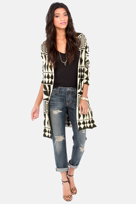 Home Remedy Beige and Black Cardigan Sweater at Lulus.com!