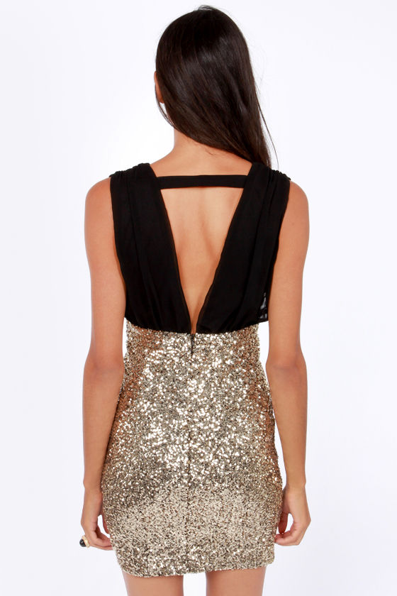 Ballroom Glitz Black and Gold Sequin Dress at Lulus.com!