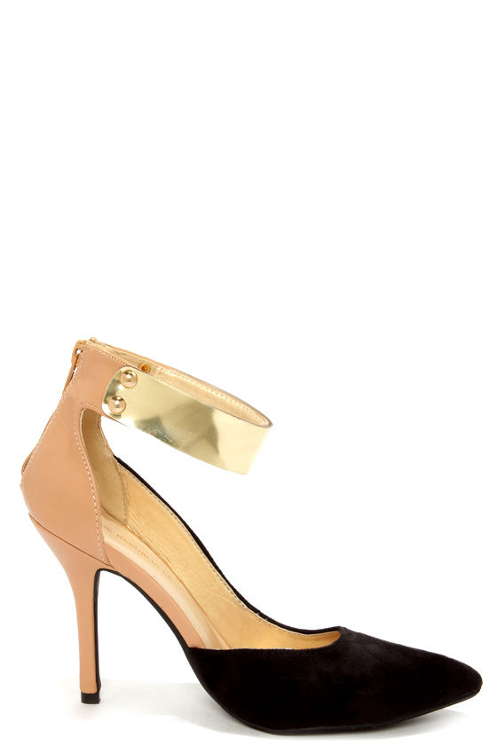 Shoe Republic LA Holland Black and Beige D'Orsay Pointed Heels at Lulus.com!