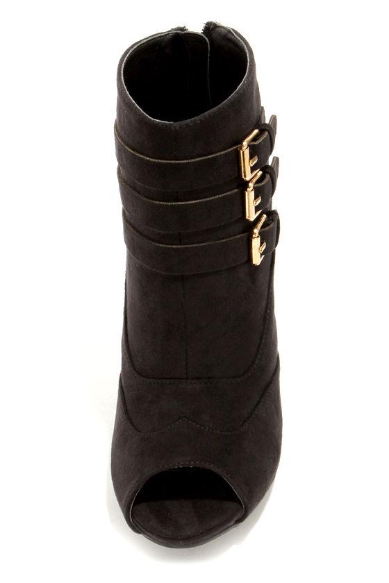 Shoe Republic LA Balman Black Suede Peep Toe Booties at Lulus.com!