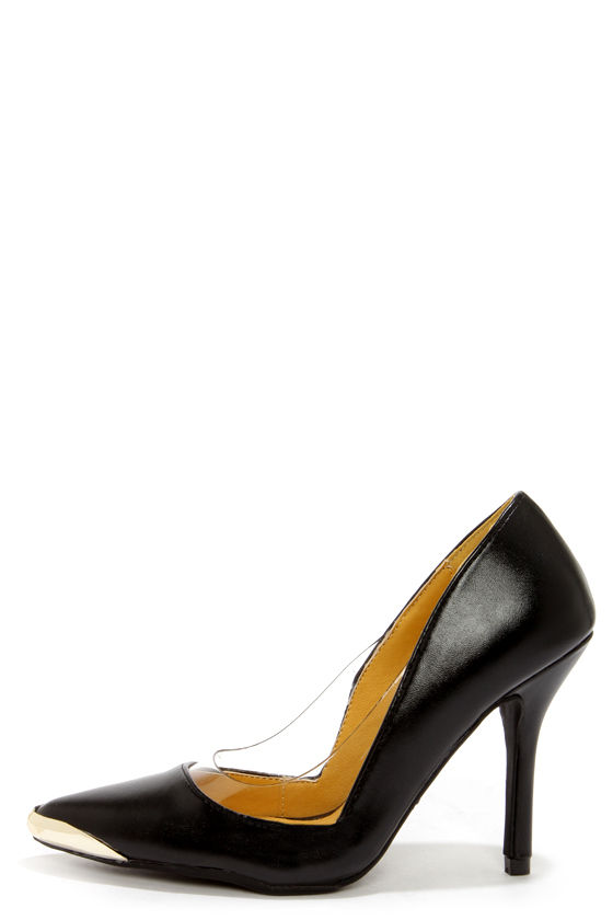 Promise Shibuya Black and Clear Pointed Pumps at Lulus.com!
