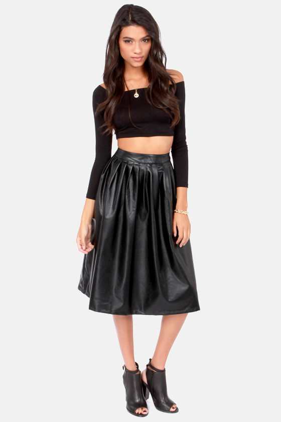 Sexy Black Skirt - Vegan Leather Skirt - Tea-Length Skirt - Midi ...