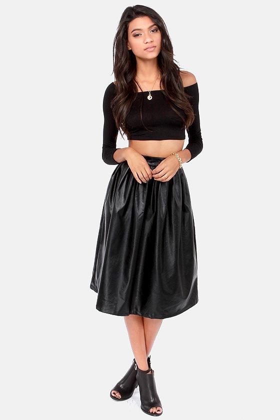 black skirt vegan leather skirt tea length skirt