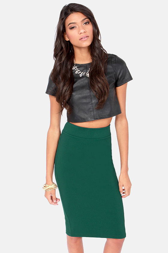 eca81489f Cute Green Skirt - Midi Length Skirt - Pencil Skirt - $35.00