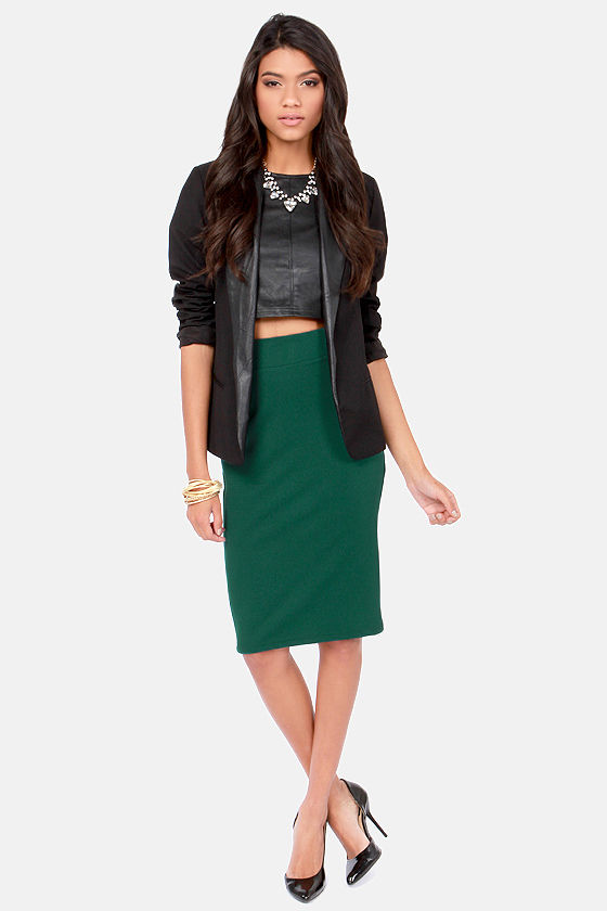 Cutting Class Hunter Green Pencil Skirt at Lulus.com!