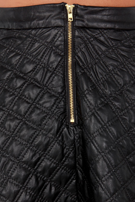 Stop and Flare Quilted Vegan Leather Skirt at Lulus.com!