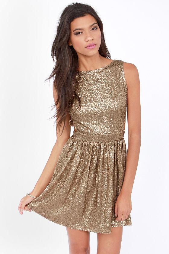 Cute Bronze Dress - Sequin Dress - Backless Dress - Skater Dress ...