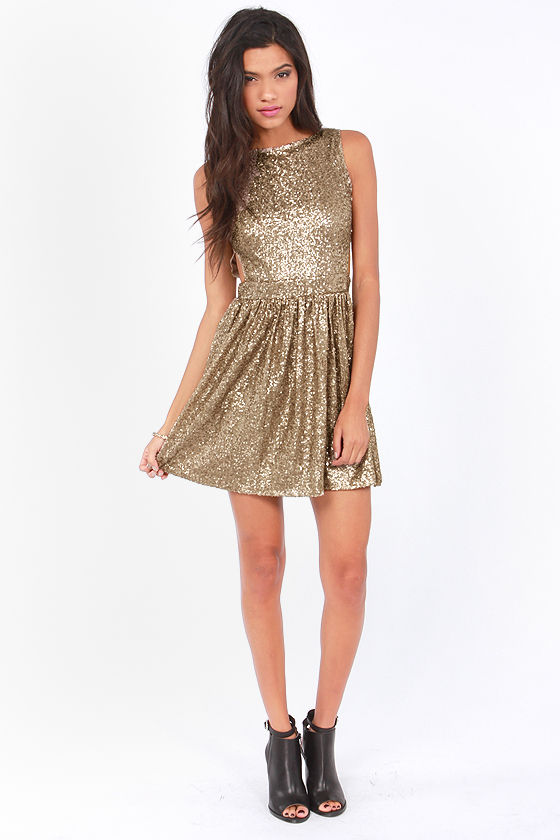 Night Owl Backless Bronze Sequin Dress at Lulus.com!