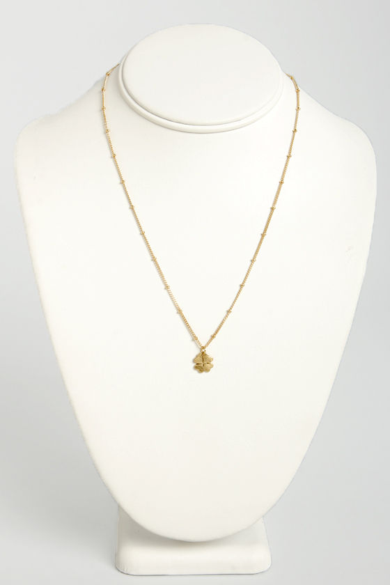 Pass the Luck Gold Clover Necklace at Lulus.com!