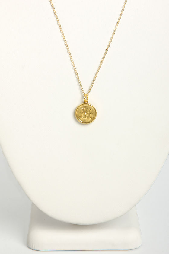 Just My Typewriter Gold M Necklace at Lulus.com!