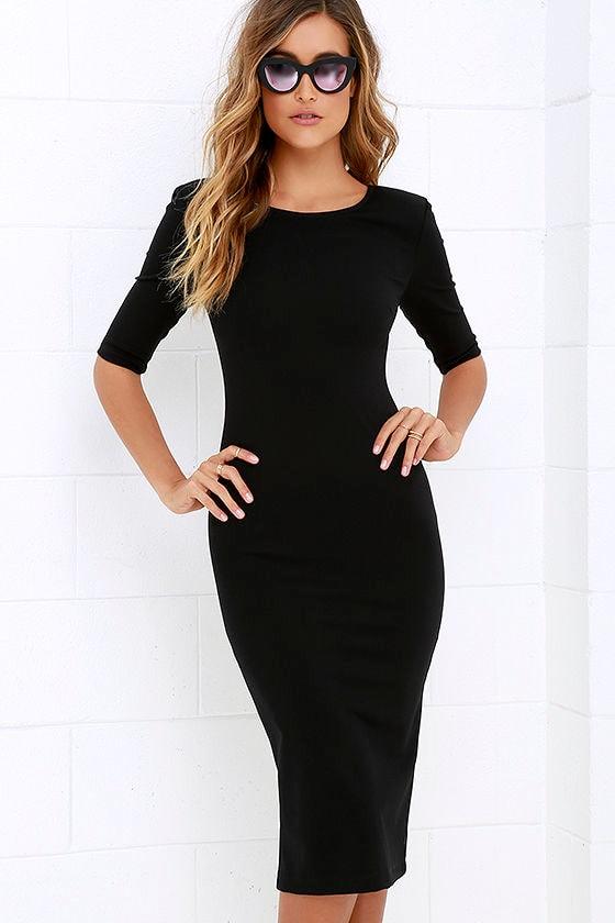Cute Black Dress - Midi Dress - Bodycon Dress - Cocktail Dress - $44.00