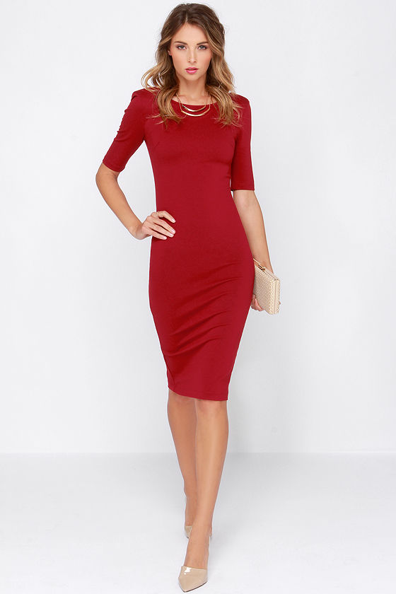 Cute Wine Red Dress - Midi Dress - Bodycon Dress - Cocktail Dress ...
