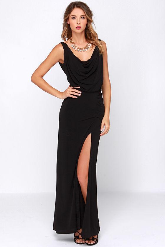 elegant black dress maxi dress cowl neck dress 8500