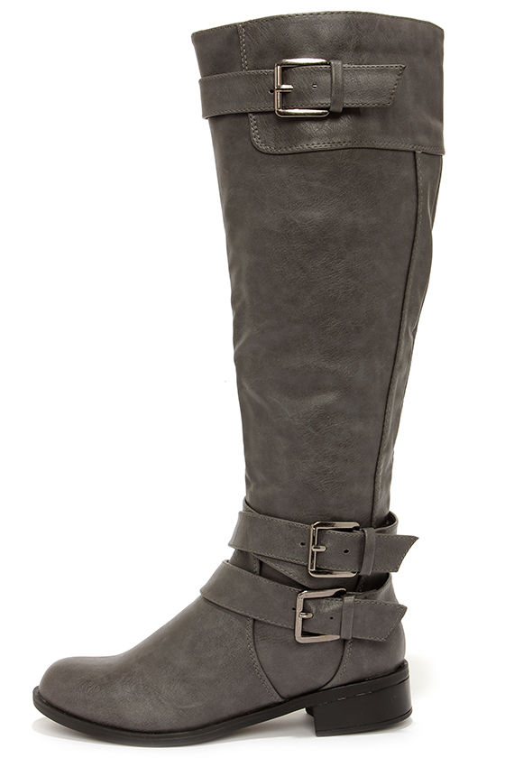 Cute Grey Boots - Knee-High Boots - Riding Boots - $43.00