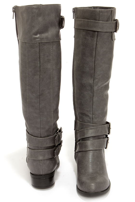 dcf2fef9a46 Cute Grey Boots - Knee-High Boots - Riding Boots -  43.00
